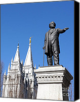 Angel Moroni Canvas Prints - Historic Salt Lake Mormon LDS Temple and Brigham Young Canvas Print by Gary Whitton