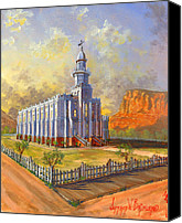 Southern Utah Canvas Prints - Historic St. George Temple Canvas Print by Jeff Brimley