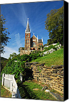 Catholic Church Canvas Prints - Historic Stone Church Harpers Ferry Canvas Print by Mark VanDyke