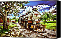 Burning Tree Canvas Prints - Historic train Canvas Print by Rosane Sanchez