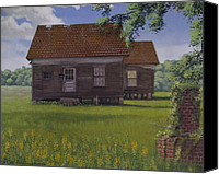 Egg Tempera Canvas Prints - Historical Warrenton Farm House Canvas Print by Peter Muzyka