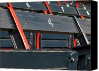 League Photo Canvas Prints - Historical Wood Seating at Boston Fenway Park Canvas Print by Juergen Roth
