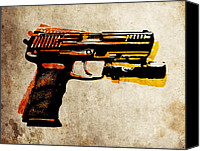 Gun Canvas Prints - HK 45 Pistol Canvas Print by Michael Tompsett