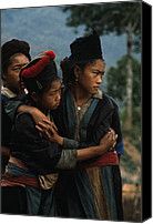 Consoling Canvas Prints - Hmong Girls Cling To Each Other Canvas Print by W.E. Garrett