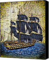Ship Mixed Media Canvas Prints - HMS Victory Canvas Print by Bob Orsillo