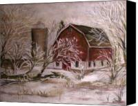 Landscapes Pastels Canvas Prints - Hoarfrost Canvas Print by Wendie Thompson