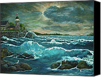 Storm Prints Mixed Media Canvas Prints - Hobsons Lighthouse Canvas Print by Ave Hurley
