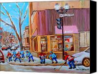 Childrens Sports Painting Canvas Prints - Hockey At Beautys Deli Canvas Print by Carole Spandau