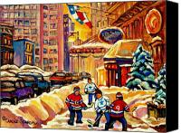 Hockey In Montreal Painting Canvas Prints - Hockey Fever Hits Montreal Bigtime Canvas Print by Carole Spandau