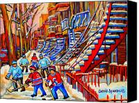 Hockey In Montreal Painting Canvas Prints - Hockey Game Near The Red Staircase Canvas Print by Carole Spandau