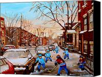 Childrens Sports Painting Canvas Prints - Hockey Gameon Jeanne Mance Street Montreal Canvas Print by Carole Spandau