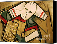 Vintage Hockey Player Canvas Prints - Hockey Goalie Canvas Print by Tommervik
