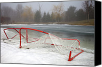 Pond Hockey Canvas Prints - Hockey Net On Frozen Pond Canvas Print by Perry McKenna Photography