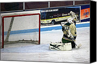Hockey Goalie Canvas Prints - Hockey Nice Catch Canvas Print by Thomas Woolworth