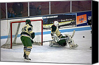 Hockey Goalie Canvas Prints - Hockey Off the Pads Canvas Print by Thomas Woolworth