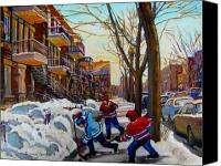 Quebec Painting Canvas Prints - Hockey On De Bullion  Canvas Print by Carole Spandau