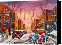 Montreal Street Life Canvas Prints - Hockey On Hotel De Ville Street Canvas Print by Carole Spandau