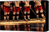 Ice-skating Canvas Prints - Hockey Reflection Canvas Print by Karol  Livote