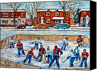 Hockey In Montreal Painting Canvas Prints - Hockey Rink At Van Horne Montreal Canvas Print by Carole Spandau