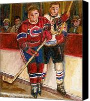 Hockey In Montreal Painting Canvas Prints - Hockey Stars At The Forum Canvas Print by Carole Spandau