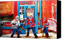 Childrens Sports Painting Canvas Prints - Hockey Sticks In Action Canvas Print by Carole Spandau