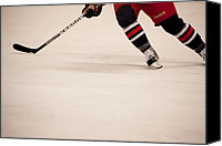 Skates Photo Canvas Prints - Hockey Stride Canvas Print by Karol  Livote