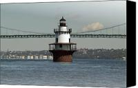 Lighthouse Pyrography Canvas Prints - Hog Island Shoal Light 2 Canvas Print by Thomas Theroux