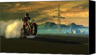 Cycle Canvas Prints - Hog Rider Canvas Print by Dieter Carlton
