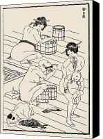 Nude Drawing Photo Canvas Prints - HOKUSAI: BATHHOUSE, c1836 Canvas Print by Granger