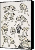 Sumo Wrestler Canvas Prints - Hokusai: Sumo Canvas Print by Granger