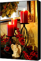 Gold Angel Card Canvas Prints - Holiday Candles HCP Canvas Print by Jim Brage