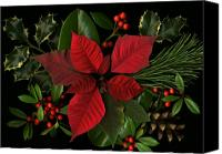 Red Berries Canvas Prints - Holiday Greenery Canvas Print by Deborah J Humphries