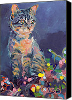 Tabby Painting Canvas Prints - Holiday Lights Canvas Print by Kimberly Santini