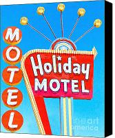 Hotels Digital Art Canvas Prints - Holiday Motel Las Vegas Canvas Print by Wingsdomain Art and Photography