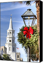 Charleston Sc Harbor Tours Canvas Prints - Holiday Wreath St Michaels Church Charleston SC Canvas Print by Dustin K Ryan