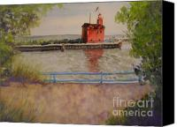 American Flag Pastels Canvas Prints - Holland Harbor Canvas Print by Sandra Strohschein