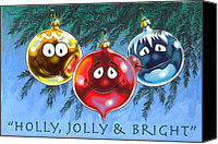 Cartoon Canvas Prints - Holly Jolly and Bright Canvas Print by Richard De Wolfe