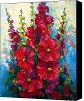 Country Painting Canvas Prints - Hollyhocks Canvas Print by Marion Rose