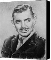Person Drawings Canvas Prints - Hollywood greats Clark Gable Canvas Print by Andrew Read
