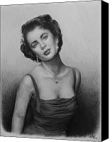Person Drawings Canvas Prints - hollywood greats Elizabeth Taylor Canvas Print by Andrew Read