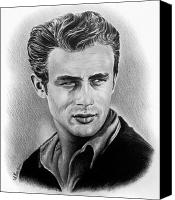 1950s Portraits Drawings Canvas Prints - Hollywood greats James Dean Canvas Print by Andrew Read