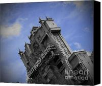 Black And White Pyrography Canvas Prints - Hollywood Studios Tower Of Terror Canvas Print by AK Photography