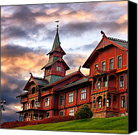 Featured Canvas Prints - Holmenkollen hotell Canvas Print by Torbjorn Schei