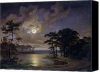Moonlit Painting Canvas Prints - Holstein Sea Moonlight Canvas Print by Johann Georg Haeselich