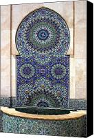 Casablanca Canvas Prints - Holy Water Fountain Hassan Ii Mosque Casablanca Canvas Print by Ralph Ledergerber