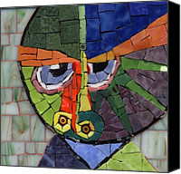 Animal Glass Art Canvas Prints - Homage to Klee - Fantasy Face No.4 Canvas Print by Gila Rayberg