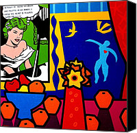 Lichtenstein Canvas Prints - Homage to Lichtenstein and Matisse Canvas Print by John  Nolan