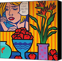 Lichtenstein Canvas Prints - Homage to Lichtenstein and Wesselmann Canvas Print by John  Nolan