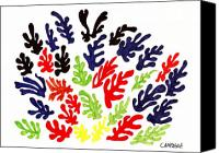 Bright Drawings Canvas Prints - Homage To Matisse Canvas Print by Teddy Campagna