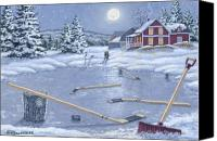 Pond Hockey Canvas Prints - Home For Supper Canvas Print by Richard De Wolfe